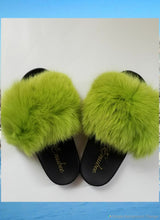100% Fox Fur Slippers Green - ENUBEE