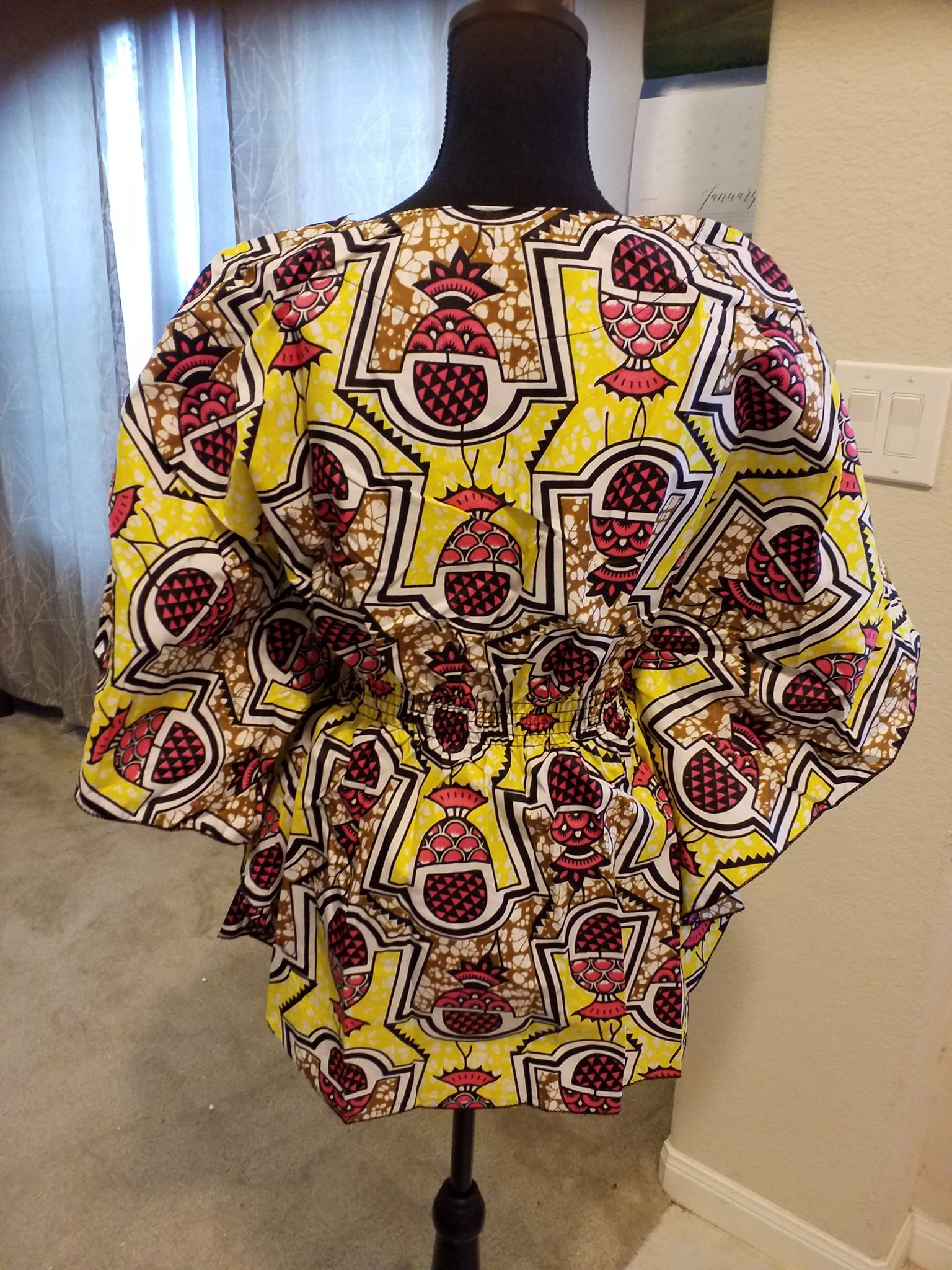 African Waxprint Butterfly top (one size) - ENUBEE