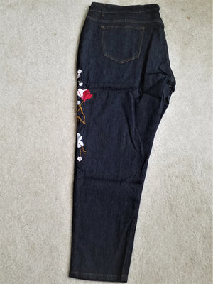 Women's Plus Size Crop Denim Pants- Embroidered Flowers - ENUBEE