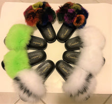 100% Fox Fur Slippers 2 Tone colors! White/Black