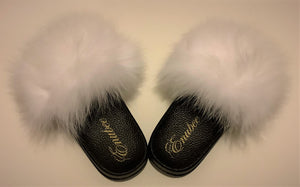 100% Fox Fur Slippers White