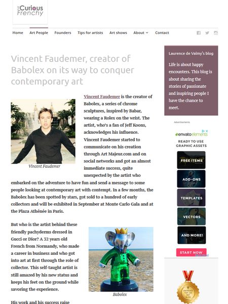 Vincent Faudemer, creator of Babolex on its way to conquer contemporary art :