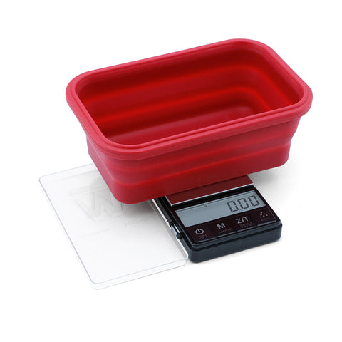 Meal Prep & Plan on the go with Truweigh Crimson Digital Mini Scale - Food Scale White Background Kitchen Scale Silicone Weighing Bowl Tupperware