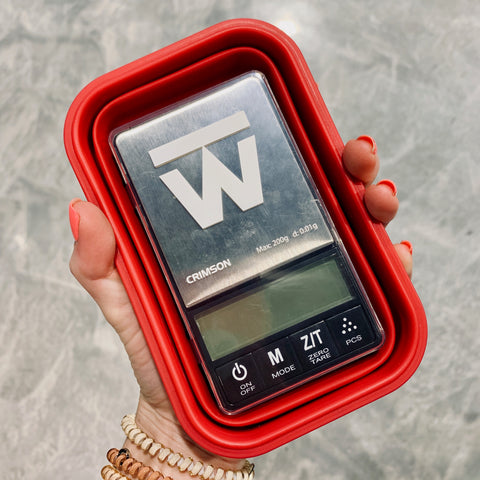 Meal Prep and Plan on the go with Truweigh Crimson Digital Mini Scale - Smartphone Compact Portable iPhone in Hand Silicone Collapsible Weighing Bowl