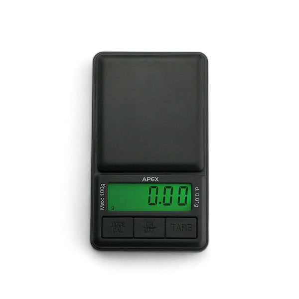 Truweigh Apex Digital Mini Scale 100g Capacity 0.01g Readability Compact Portable Black Precision Weighing Sensor Backlit LCD Screen Overload Protection Easy Calibration Auto-Off Tare Zero Warranty Arts Crafts Hobby Cash and Carry Headshops Numismatics Scale Resellers