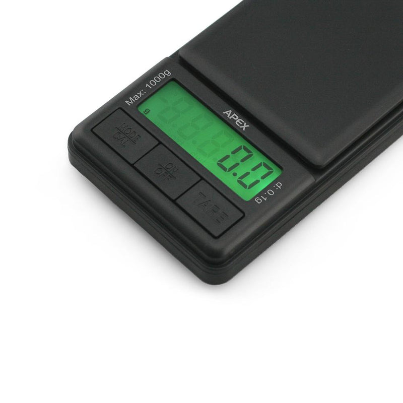 Truweigh Apex Digital Mini Scale 1000g Capacity 0.1g Readability Compact Portable Black Precision Weighing Sensor Backlit LCD Screen Overload Protection Easy Calibration Auto-Off Tare Zero Warranty Arts Crafts Hobby Cash and Carry Headshops Numismatics Scale Resellers