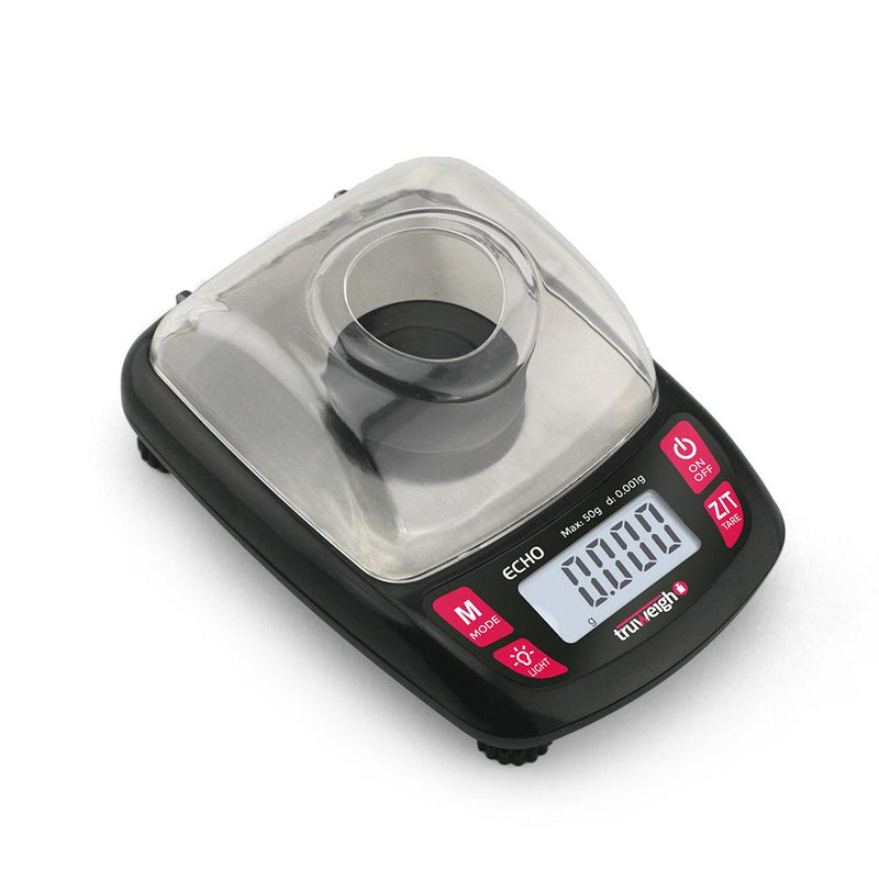 Truweigh Echo Digital Milligram Mini Pocket Jewelry Scale 50g Capacity 0.001g Readability Weighing Pan Tweezers 20g Weights One Touch Calibration Tare Zero Auto Off 10 Year Warranty Jewelry Sport and Shooting Microdosing and Tapering Science Education Scale Reseller