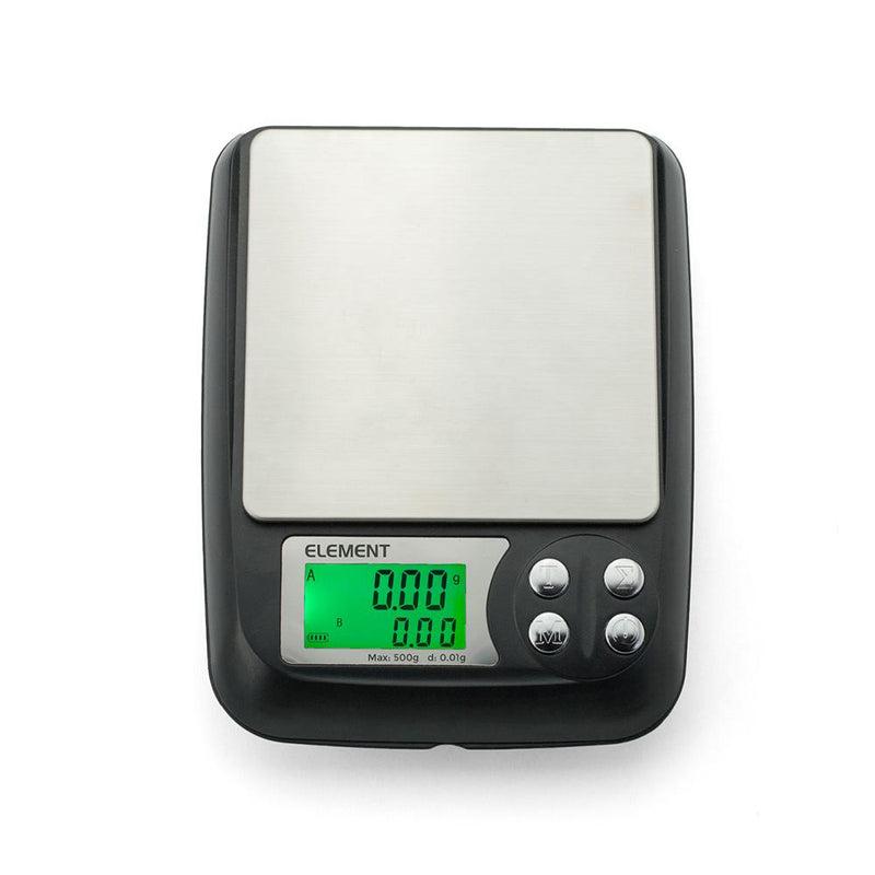 Truweigh Element Digital E-Liquid Mini Pocket Scale 500g Capacity 0.01g Readability Totalization E-Juice DIY One Touch Calibration Expansion Tray Auto Off Tare Zero Overload Protection Back-Lit LCD Screen 10 Year Warranty Cash and Carry Headshops Science Education Scale Resellers