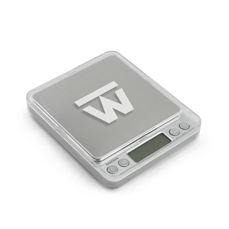 Truweigh Enigma Digital Mini Pocket Jewelry Kitchen Scale 3000g Capacity 0.1g Readability Silver Large Platform High Precision Sensor Expansion Trays Versatile Back-Lit LCD Screen Overload Protection Auto Off Tare Zero One Touch Calibration 10 Year Warranty Arts Crafts Hobby Coffee Dental Cash and Carry Growshops Headshops Jewelry Kitchen Numismatics Nutrients Health Medications Science Education Scale Resellers