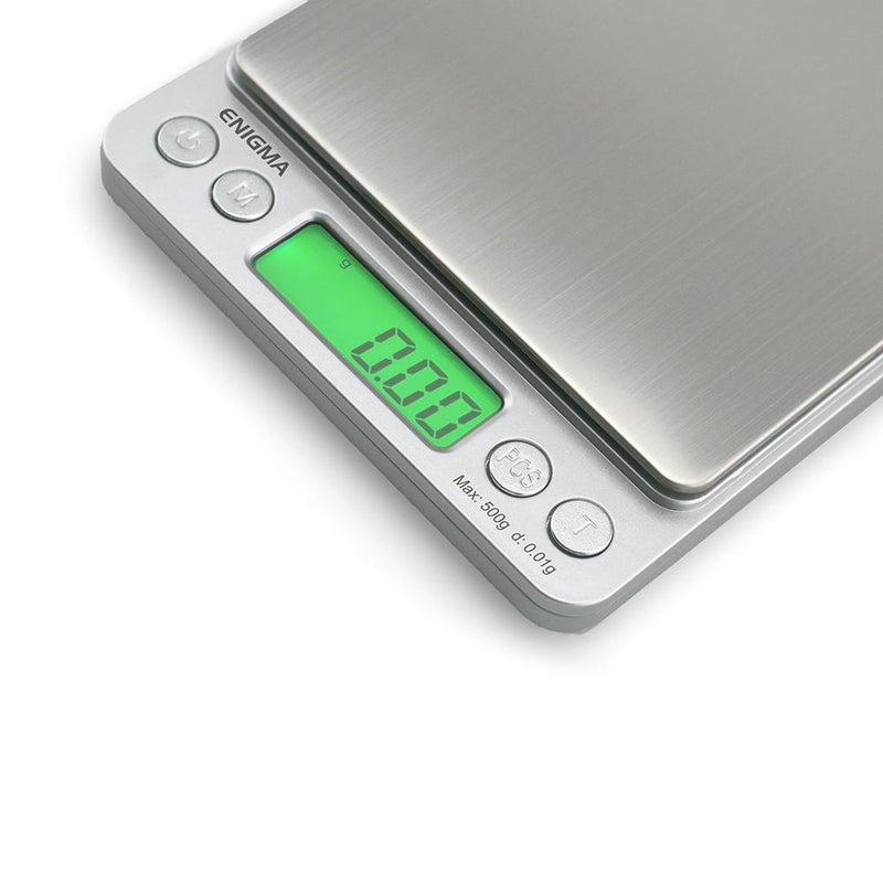 Truweigh Enigma Digital Mini Pocket Jewelry Kitchen Scale 500g Capacity 0.01g Readability Silver Large Platform High Precision Sensor Expansion Trays Versatile Back-Lit LCD Screen Overload Protection Auto Off Tare Zero One Touch Calibration 10 Year Warranty Arts Crafts Hobby Cash and Carry Headshops Jewelry Kitchen Nutrients Health Medications Science Education