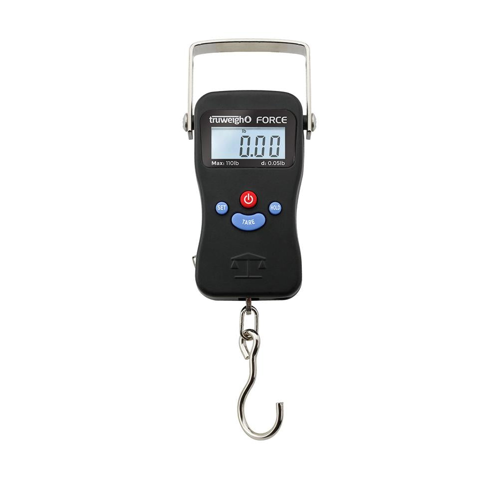Truweigh Force Digital Hanging Luggage Fishing Archery Scale 110 Pound LB Capacity 0.05lb Readability Auto Off Tare Zero Auto Peak No Hold Overload Protection OZ KG LCD Screen 10 Year Warranty Growshops Sport and Shooting Science Education
