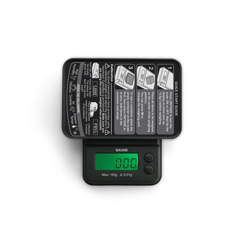 Truweigh Gauge Digital Pocket Jewelry Mini Scale 100g Capacity 0.01g Readability Compact Portable Black Precision Weighing Sensor Back-lit LCD Screen Overload Protection Easy Calibration Auto-Off Tare Zero Warranty Arts Crafts Cash Carry Headshops Science Education Scale Resellers