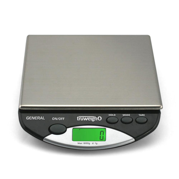 Truweigh General Compact Bench Scale 8000g Capacity 1g Readability Rubber Feet Stainless Steel Platform Hold Feature Back-Lit LCD Screen Overload Protection Kitchen Scale Auto Off Tare Zero One Touch Calibration 10 Year Warranty Arts Crafts Hair Beauty Coffee Cash Carry Growshops Headshops Kitchen Nutrients Health Pinewood Derby Science Education Scale Resellers