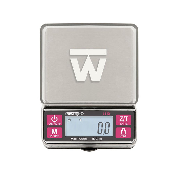 Truweigh Lux Digital Mini Kitchen Jewelry Scale 1000g Capacity 0.1g Readability Expansion Tray Cover Auto Off Easy One Touch Calibration Tare Zero Overload Protection Back-Lit LCD Screen 10 Year Warranty Cash Carry Headshops Jewelry Sport Shooting Ammunition Microdosing Tapering Science Education Scale Resellers