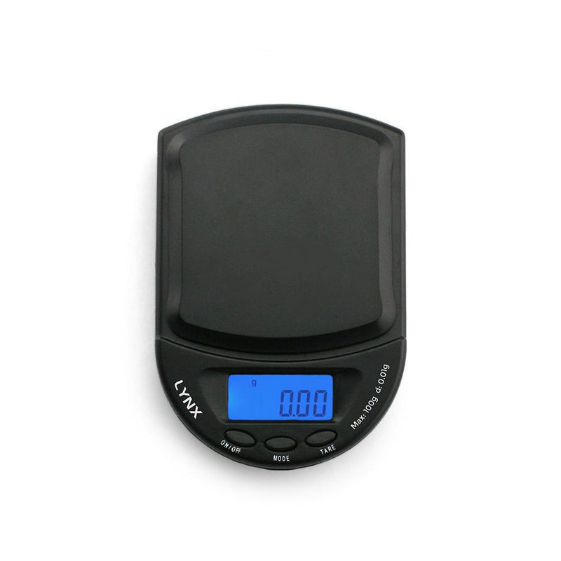 Truweigh Lynx Digital Mini Pocket Jewelry Compact Portable Travel Scale 100g Capacity 0.01g Readability Expansion Tray Precision Weighing Sensor Back-Lit LCD Screen Overload Protection Auto Off Tare Zero One Touch Calibration Black Blue 10 Year Warranty Arts Crafts Hobby Cash Carry Headshops Scale Resellers