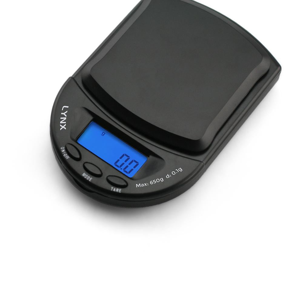 Truweigh Lynx Digital Mini Pocket Jewelry Compact Portable Travel Scale 650g Capacity 0.1g Readability Expansion Tray Precision Weighing Sensor Back-Lit LCD Screen Overload Protection Auto Off Tare Zero One Touch Calibration Black Blue 10 Year Warranty Arts Crafts Hobby Cash Carry Headshops Numismatics Scale Resellers