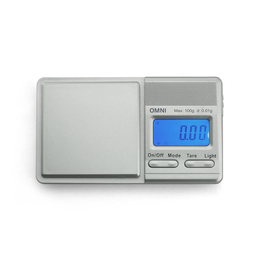 Truweigh Omni Digital Mini Pocket Sliding Cover Kitchen Jewelry Dispensary Scale Silver 100g Capacity 0.01g Readability Back-Lit LCD Screen Overload Protection Tare Zero Auto Off One Touch Calibration 10 Year Warranty Cash Carry Headshops Scale Resellers