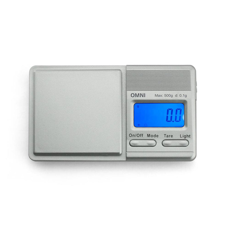 Truweigh Omni Digital Mini Pocket Sliding Cover Kitchen Jewelry Dispensary Scale Silver 500g Capacity 0.1g Readability Back-Lit LCD Screen Overload Protection Tare Zero Auto Off One Touch Calibration 10 Year Warranty Cash Carry Headshops Numismatics Scale Resellers