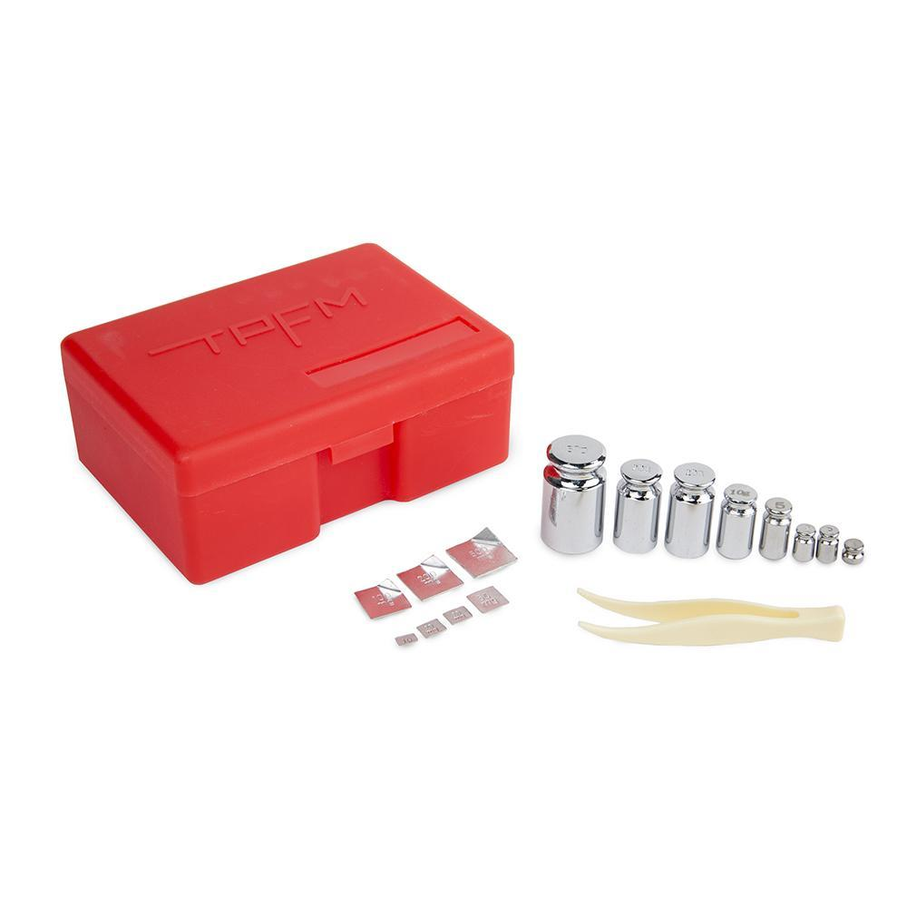 Truweigh OIML M1 Weight Set 16 Piece Red Calibration Weight Kit 50g 20g 10g 2g 1g 500mg 200mg 100mg 50mg 20mg 10mg Tweezers Accuracy Calibrating