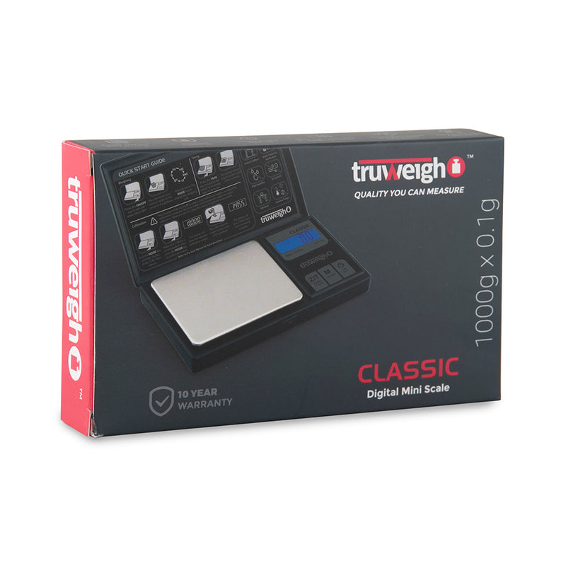 Truweigh Classic Digital Scale 1000G X 0.1G Black
