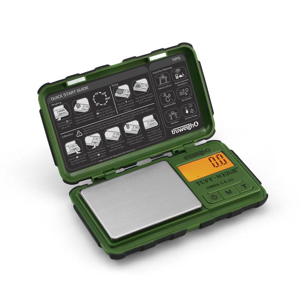 Truweigh Tuff-Weigh Digital Mini Pocket Rubberized Scale Green Black 1000g Capacity 0.1g Readability Hinged Cover Expansion Tray Back-Lit LCD Screen Overload Protection Auto Off Tare Zero One Touch Calibration 10 Year Warranty   Arts Crafts Hobby Cash Carry Headshops Jewelry Sport Shooting Ammunition Scale Resellers