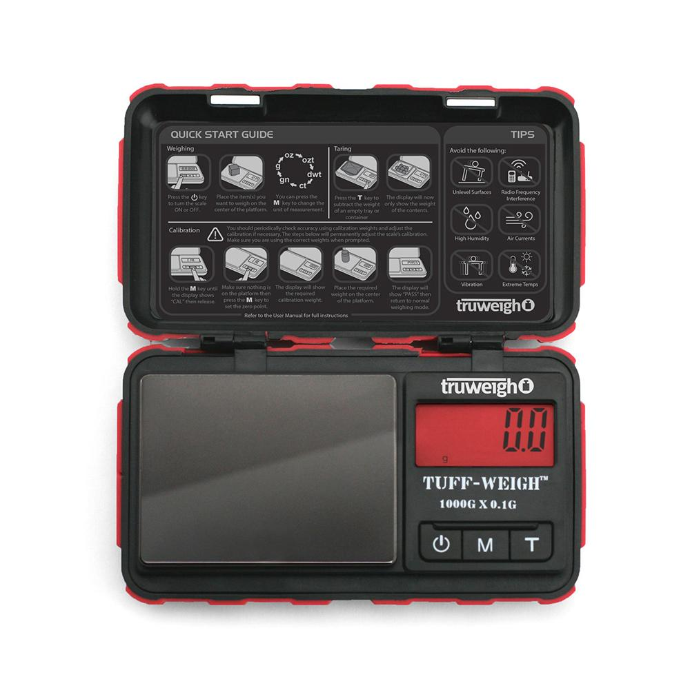 Truweigh Tuff-Weigh Digital Mini Pocket Rubberized Scale Red Black 1000g Capacity 0.1g Readability Hinged Cover Expansion Tray Back-Lit LCD Screen Overload Protection Auto Off Tare Zero One Touch Calibration 10 Year Warranty   Arts Crafts Hobby Cash Carry Headshops Jewelry Sport Shooting Ammunition Scale Resellers