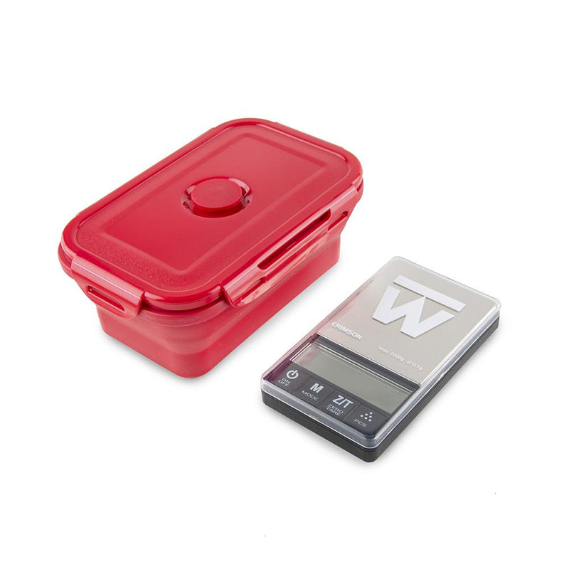Truweigh Crimson Collapsible Bowl Scale 1000g Capacity 0.1g Readability Digital Mini Pocket Kitchen Jewelry Scale One Touch Calibration Tare Zero Overload Protection Back-Lit LCD Screen Auto-Off AAA Batteries 10 Year Warranty Latching Cover Protection Arts Crafts Hobby Coffee Cash and Carry Growshops Headshops Kitchen Nutrients Medications Health
