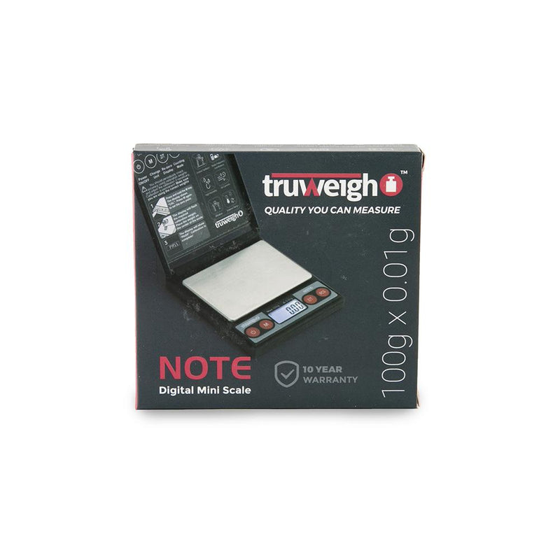 Truweigh Note Digital Mini Pocket Sticky Note Size Portable Travel Compact Scale 100g Capacity 0.01g Readability Overload Protection Auto Off Back-Lit LCD Screen One Touch Calibration Calculator Lithium CR2032 Battery 10 Year Warranty Hinged Locking Cover Cash Carry Headshops Scale Resellers