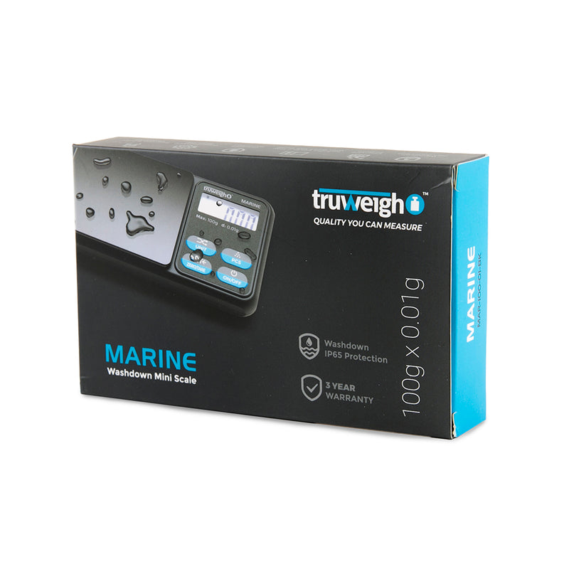 Truweigh Marine IP65 Rated Washdown Miniscale - 100g x 0.01g / Black