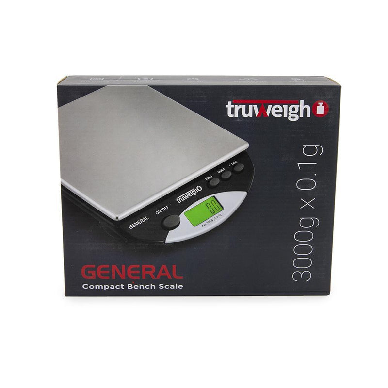 Truweigh General Compact Bench Scale 3000g Capacity 0.1g Readability Rubber Feet Stainless Steel Platform Hold Feature Back-Lit LCD Screen Overload Protection Kitchen Scale Auto Off Tare Zero One Touch Calibration 10 Year Warranty Arts Crafts Hair Beauty Cash Carry Growshops Headshops Kitchen Nutrients Health Medications Produce Vegetables Pinewood Derby Science Education Scale Resellers