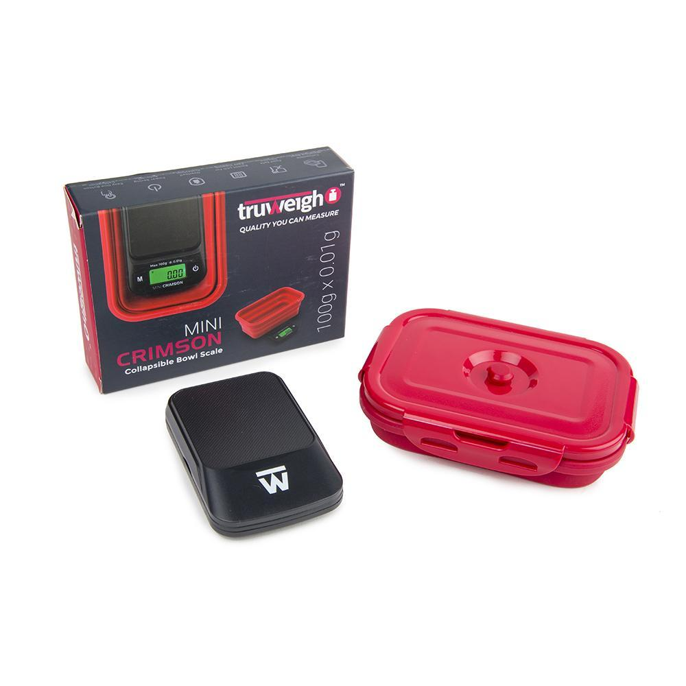 Truweigh Mini Crimson Collapsible Bowl Digital Kitchen Jewelry Dispensary Travel Scale 100g Capacity 0.01g Readability Back-Lit LCD Screen Overload Protection Auto Off Tare Zero One Touch Calibration 10 Year Warranty Arts Crafts Hobby Cash Carry Headshops Growshops Nutrients Health Medications Scale Resellers