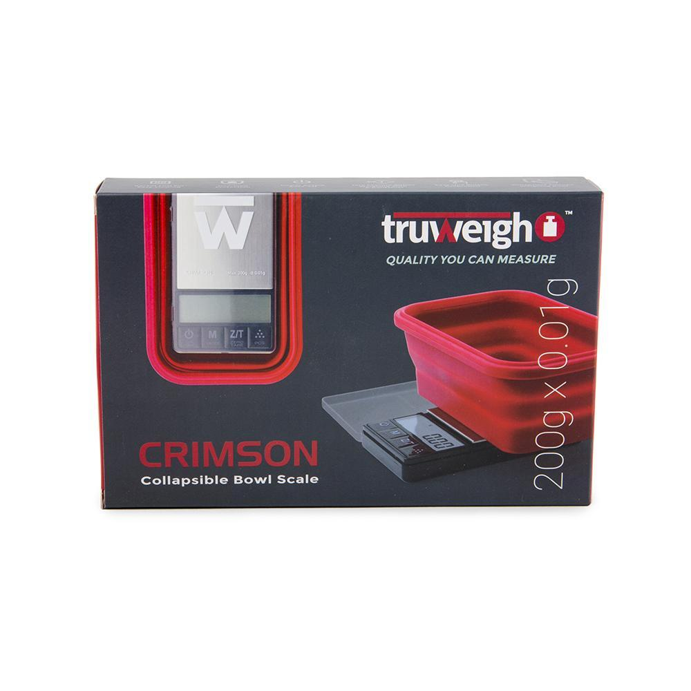 Truweigh Crimson Collapsible Bowl Scale 200g Capacity 0.01g Readability Digital Mini Pocket Kitchen Jewelry Scale One Touch Calibration Tare Zero Overload Protection Back-Lit LCD Screen Auto-Off AAA Batteries 10 Year Warranty Latching Cover Protection Cash and Carry Headshops Jewelry Kitchen Nutrients Health Sport and Shooting Scale Resellers