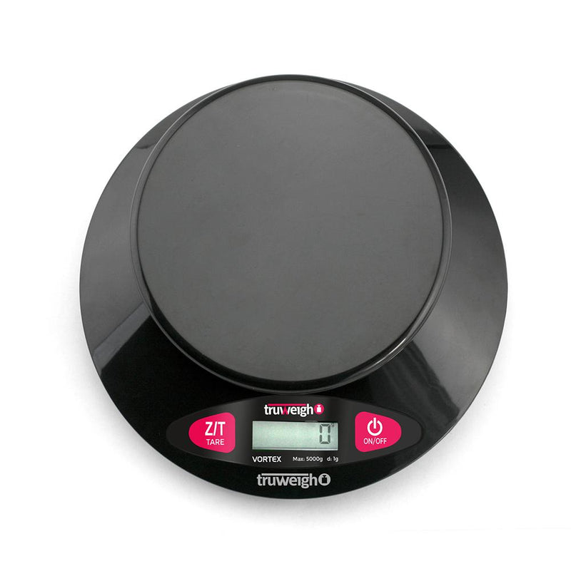 Truweigh Vortex Digital Bowl Kitchen Scale 5000g Capacity 1g Readability Dishwasher Safe Weighing Bowl Overload Protection Tare Zero Back-Lit LCD Screen Auto Off 10 Year Warranty Arts Crafts Hobby Cash Carry Growshops Headshops Medication Nutrients Health Produce Science Education Scale Resellers