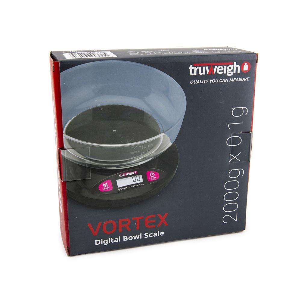Truweigh Vortex Digital Bowl Kitchen Scale 2000g Capacity 0.1g Readability Dishwasher Safe Weighing Bowl Overload Protection Tare Zero Back-Lit LCD Screen Auto Off 10 Year Warranty  Arts Crafts Hobby Cash Carry Growshops Headshops Medication Nutrients Health Produce Science Education Scale Resellers