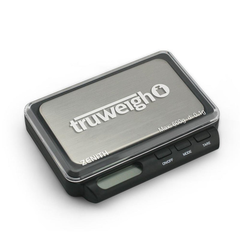 Truweigh Zenith Digital Mini Pocket Kitchen Jewelry Dispensary Scale 600g Capacity 0.1g Readability Compact Stainless Steel Platform Back-Lit LCD Screen Expansion Tray Overload Protection Auto Off Tare Zero One Touch Calibration 10 Year Warranty  Arts Crafts Hobby Cash Carry Headshops Pinewood Derby Scale Resellers Numismatics