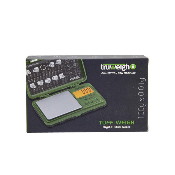 Truweigh Tuff-Weigh Digital Mini Pocket Rubberized Scale Green Black 100g Capacity 0.01g Readability Hinged Cover Expansion Tray Back-Lit LCD Screen Overload Protection Auto Off Tare Zero One Touch Calibration 10 Year Warranty Arts Crafts Hobby Cash Carry Headshops Jewelry Sport Shooting Ammunition Scale Resellers