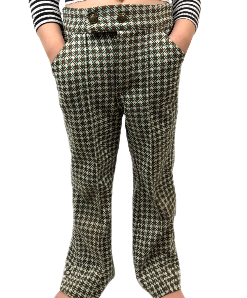 High-Waist Houndstooth Slacks