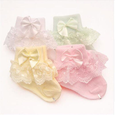 100% Cotton High Quality Lace Socks - Pack of 4, Color May Vary