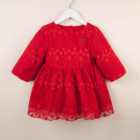 Baby Toddler Girl Limited Edition Lace Long Sleeve Red Dress