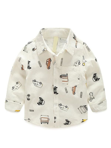 Toddler Boys Cars Printed White Long-sleeved Shirt