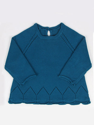 Baby Toddler Girls Solid Color Knitted Cotton Sweater