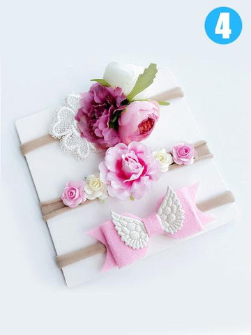 3-piece Bowknot/Wings/Flower/Beads Headband Set