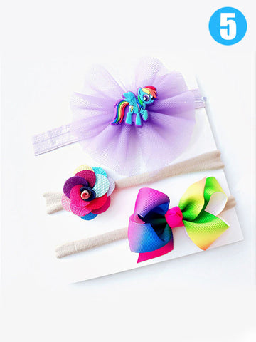 3-piece Bowknot/Unicorn/Flower Headband Set