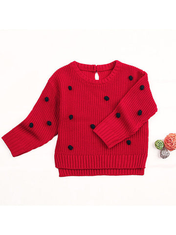 Baby Polka Dots Long Sleeve Knitted Sweater red