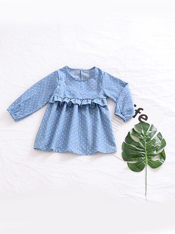 Infant Toddler Dot Dress Ruffled Decorated