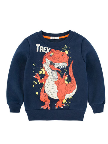 Little Kids Dinosaur Print Fleece Lined Sweatshirt