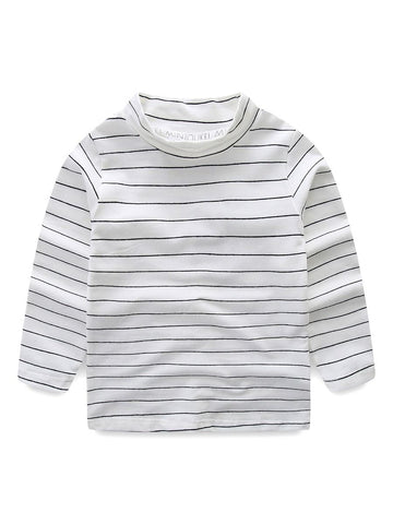 Baby Toddler UNISEX High Collar Striped Print Shirt