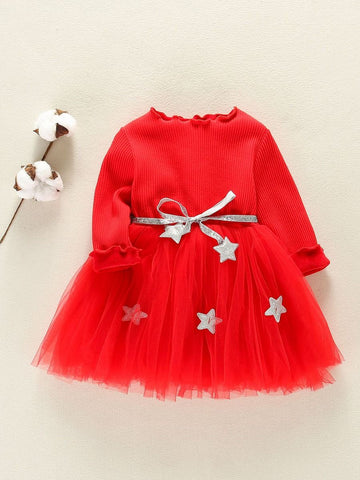 Girls Red Dress with Silver Star