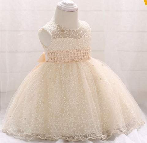 Baby Girl Beaded Birthday Mesh Frock