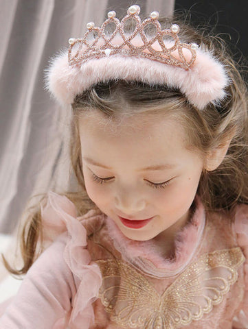 Girls Faux Fur Beaded Crown Headband